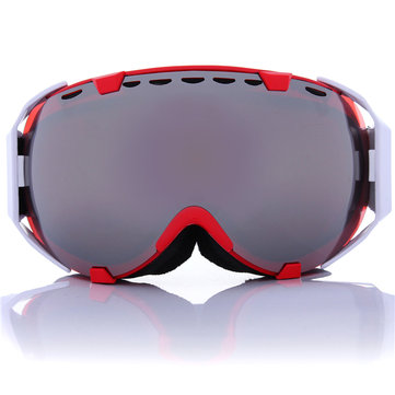 Motorcycle Spherical Anti Fog UV Dual Lens Grey Snowboard Ski Goggles Glasses Unisex