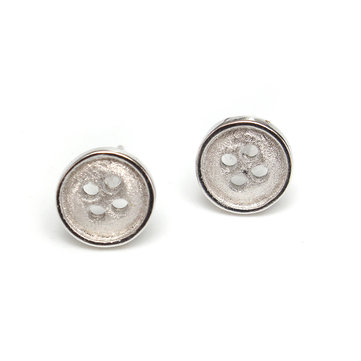 Cute Silver Plated Round Button Ear Stud Earrings Women Jewelry