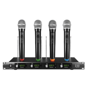 EW140 Professional UHF 4 Channel 4 Handheld Wireless LCD Display Karaoke KTV Microphone System Mic