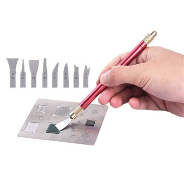 Metal Dual Handle Mainoboard CPU BGA Chip Glue Clean with 16pcs Blades for iPhone A8 A11 Repair Tool
