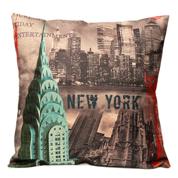 Vintage New York City Pillow Case Cotton Linen Cushion Cover Home Sofa Office Decor