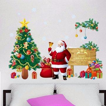 크리스마스 산타 클로스 선물 DIY 이동식 벽 스티커 창문 홈 인테리어