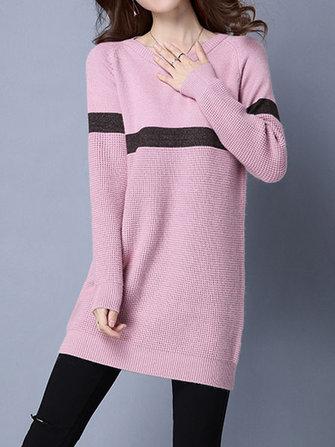 Manica lunga casuale delle donne o-collo della banda del vestito maglia maglione