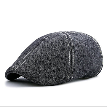 Mens Winter Grey Cotton Retro Beret Cap Forward Hat