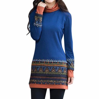 Ethnic Women Patchwork Printing Long Sleeve Turtleneck Vintage Basic Shirt