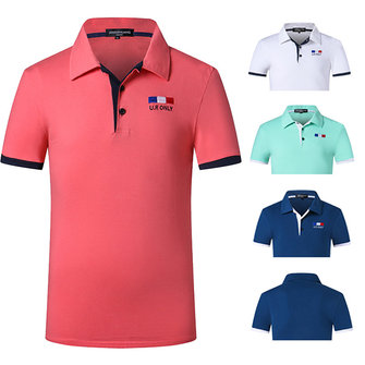 Summer Casual Pure Color Lapel T-shirts Mens Fashion Cotton Short Sleeved POLO Shirts