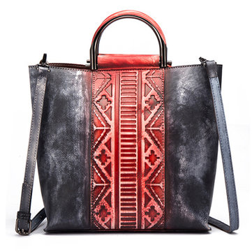 Brenice Women Splicing Handmade Tote Handbag Retro Cowhide Shoulder Crossbody Bag