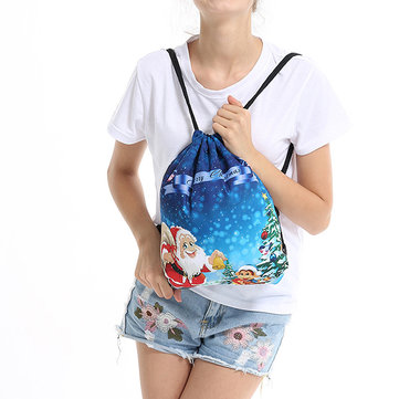Women Print String Christmas Storage Bag Backpack
