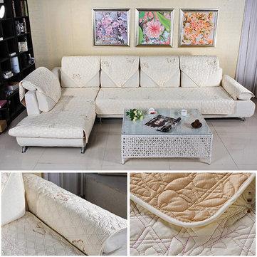 Algodón acolchado sofá bordado fundas de sofá cojín toalla respaldo ...