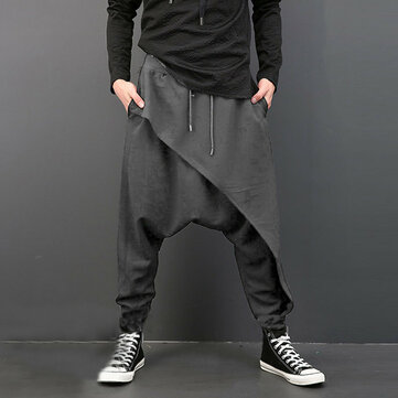 Men's Casual Baggy Slacks Solid Color Drawstring Sport Jogger Dance Harem Pants