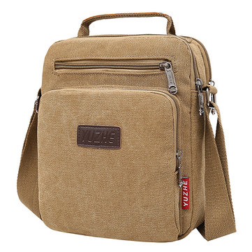 Men Canvas Sling Bag Messenger Bag Small Travel Crossbody Bag Fit 9.7-inch ipad