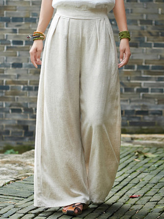 Vintage Women Solid Color Linen Cotton Wide Leg Pants