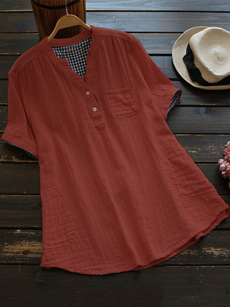 Women Short Sleeve Button Solid Linen Cotton Blouse