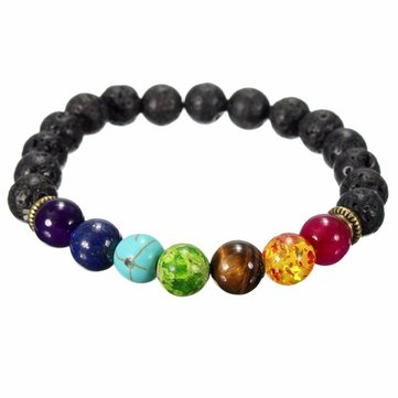 Black Lava Rock Stone Colorful Beads Elastic Bracelet
