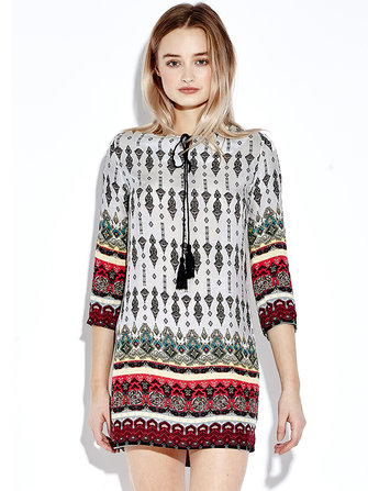 Bohemian Women Summer 3/4 Sleeve Printed Mini Dress