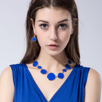 Blue Enamel Round Flat Necklace Earrings Jewelry Set Simple Style for Women