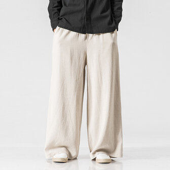 Men's Cotton Outdoor Loose Comfortable Wide Leg Pants