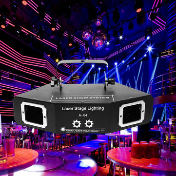DMX 4 Len RGB Pattern Beam Network Laser Light Home Party DJ KTV Stage Lighting