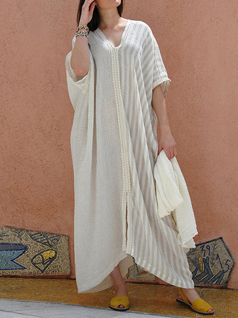 Women Half Sleeve Stripe Patchwork V-neck Loose Baggy Long Shirt Maxi Dress