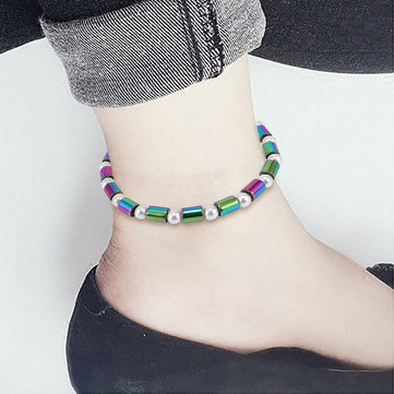Bohemian Colorful Magnetic Beads Anklet Bracelets Fashion Summer Foot Healing Jewelry for Women