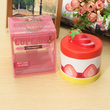 Vlampo Squishy Strawberry Cup Cake Slow Rising Original Packaging Cake Collection Gift Toy Decor