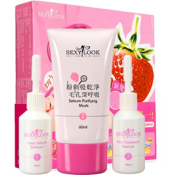 3 Steps Strawberry Face Nose Blackhead Removal Pore Cleanser Facial Skin Care Mask Set