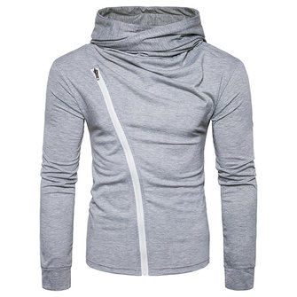 Fashion Simple Zipper Design T-shirt Men's Casual Pile Heap Collar Hooded Long Sleeved T-shirt