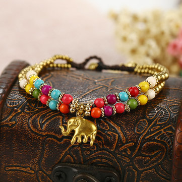 Vintage Elephant Pendant Colorful Beads Bangle Hand-wove Adjustable Bracelet for Women