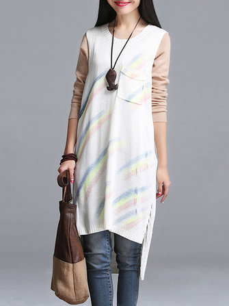 Women Vintage Folk Style Sleeveless Sweater Knitted Printed Dress