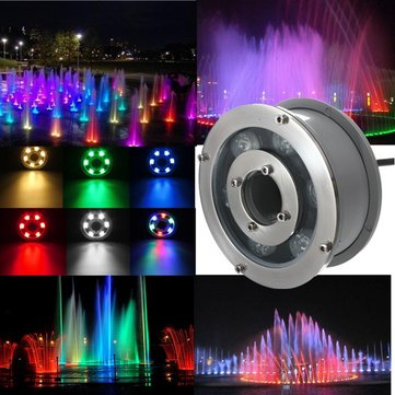6W IP68 RGB LED Fountain Pool Pond Lake Spot Lightt Under Water Lamp AC/DC12V