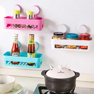 Strong Double Sucker Kitchen Storage Rack Shelf Hanging Sucker Bathroom Organization Container