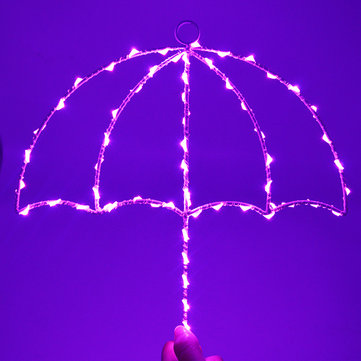 Led Umbrella Modeling Iron Lamp Decorative Wall Hangings Night Lights Hot Selling Umbrella Lamp On Wall LED Night Light Christmas Wedding Decoration Curtain Lights