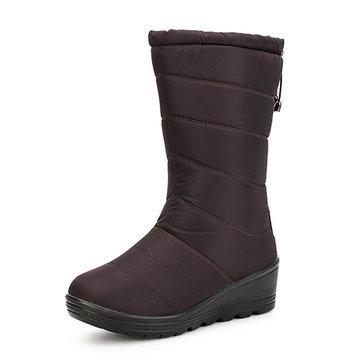 Nuove donne moda inverno giù zeppa tenere stivali casuali cotone a metà polpaccio stivali caldi della neve