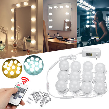 12PCS Hollywood LED Bulbs Vanity Makeup Mirror Light Dressing Dimmable Bulb + Remote Control Set