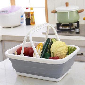 Honana CF-SC61 접이식 실리콘 야채 과일 세탁 바구니 보관소 여행 야영 주최자