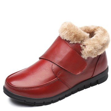 Originele Leather Cotton Shoes Casual Slip On Fur Lining Boots
