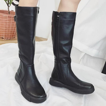 Winter Warm Comfy Pure Color Zipper Mid Calf Boots