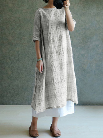 Women Half Sleeve Casual Cotton Linen Loose Split Dress