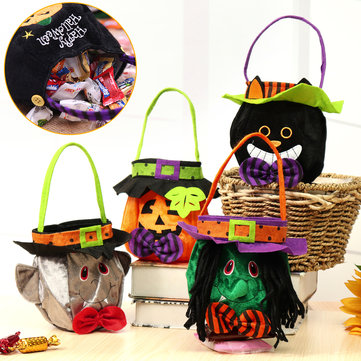 25x16cm Halloween Candy Bags Pumpkin Handbag Vampire Trick Cat Witch Bag Prop Decor