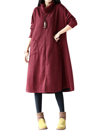 Vintage Solid Turtleneck Long Sleeve Pockets Loose Women Dress