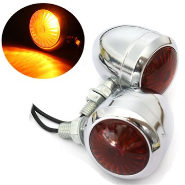 Pair 12V Motorcycle Turn Signal Indicator Light Lamp For Harley