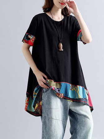 Casual Women Patchwork Loose O-neck à manches courtes T-shirts