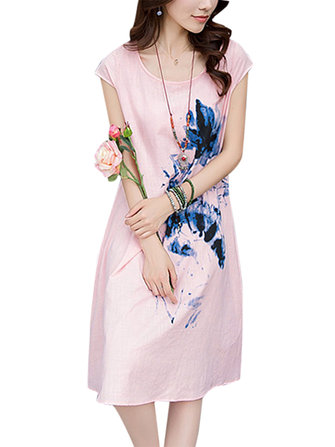 Chinese Style Ink Painting Cotton Linen Loose Elegant Women Dress