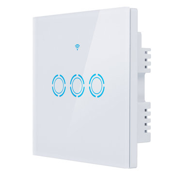 AC 90V-250V Smart WiFi Socket Glass Touch Switch Panel LED Lights Switch Works With Alexa Google