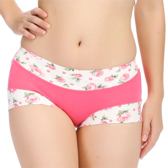 Women Sexy Bamboo Fiber Panties Rose Printed Breathable Mid Waist Underwear