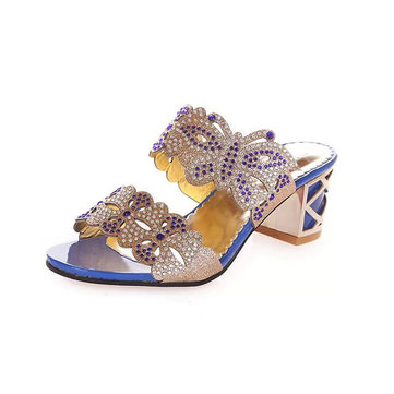 Summer Chic Beach Sandals Slip On Platform Slippers Butterfly Rhinestone Sandals