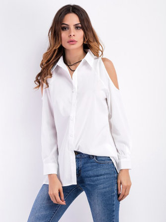 Sexy Off Shoulder Long Sleeve Lapel Single-Breasted Blouses