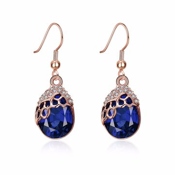 INALIS Elegant Rose Gold Plated Rhinestone Micro Inlay Sapphire Gemstone Drop Earrings for Women