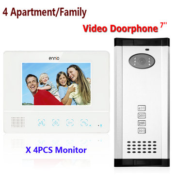 ENNIO SY811WMC14 4 Appartement Familie Video Deur Telefoon Intercom Waterdichte Deurbel Camera 4 Monitors