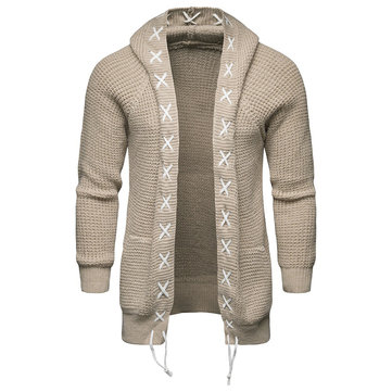 Casual Winter Solid Color Braided Knitted Cardigans for Men